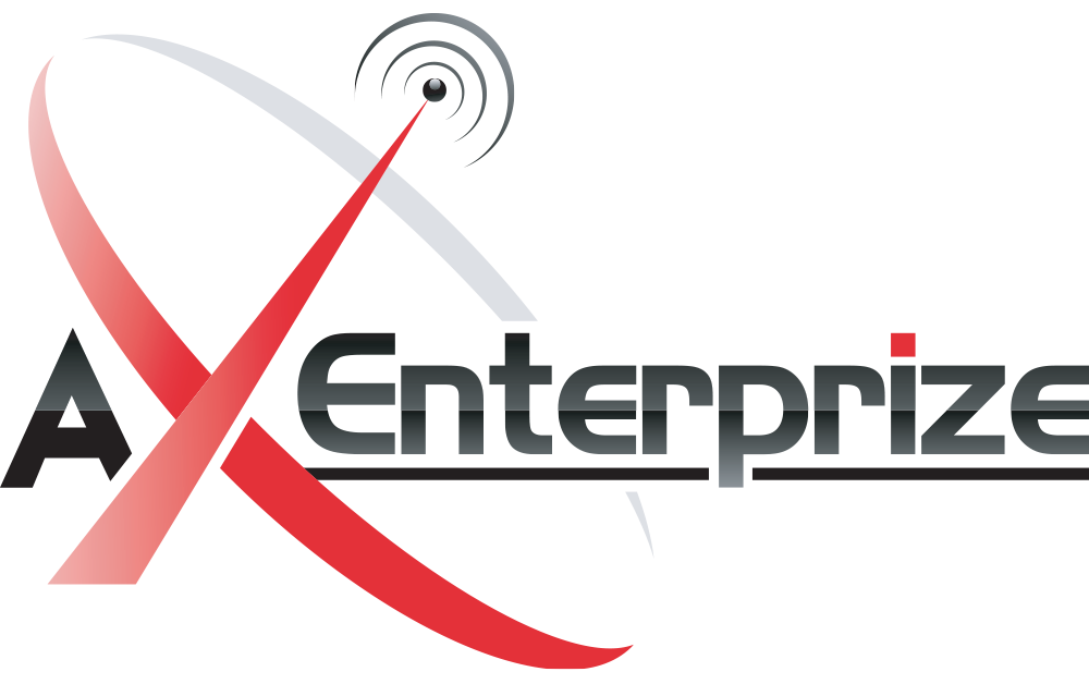 AX Enterprize logo with the X in red and the tip of the X is an antenna